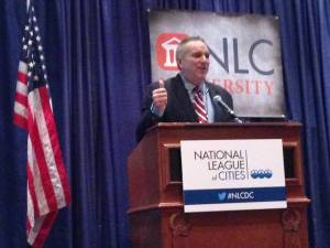 National League of Cities Service Line Warranty Program Advisor Jim Hunt, of Amazing Cities, was the Master of Ceremonies at the NLC University Awards Luncheon. The NLC University is dedicated to local leaders improving their skills.